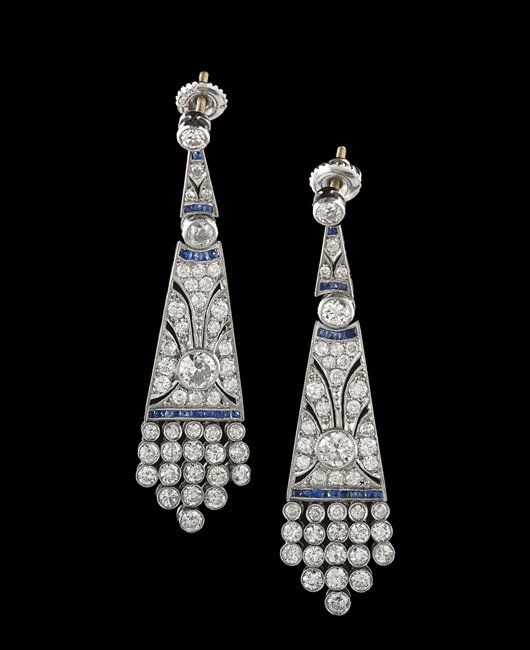 Pair of 18 Kt. Gold, Diamond & Sapphire Earrings