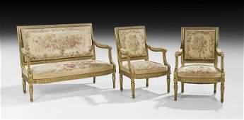 ThreePiece Louis XVIStyle Giltwood Parlor Suite