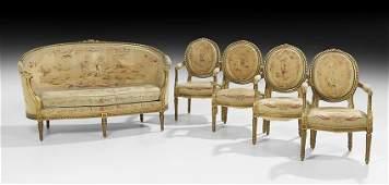 FivePiece Louis XVIStyle Giltwood Parlor Suite