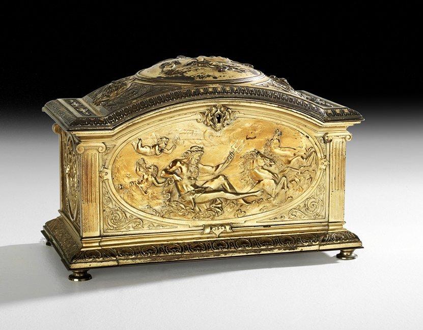 French Gilt-Bronze Beaux-Arts Jewel Casket