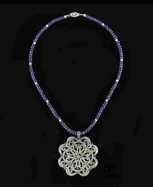 14 Kt. Gold, Silver, Diamond & Sapphire Necklace