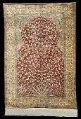 Antique Persian Silk Qum Prayer Carpet