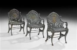 "Three Cast Iron ""Four Seasons"" Garden Chairs"