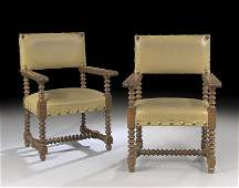 Pair of Spanish LeatherUpholstered Armchairs