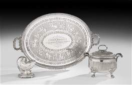 Three Pieces of Victorian Silverplate Tableware