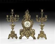 Louis XV Style Bronze ThreePiece Clock Set