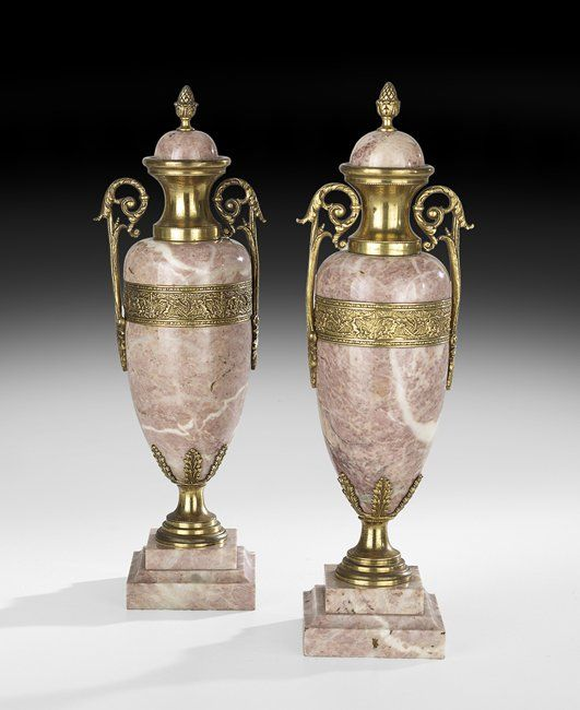 Pair of French Marble and Bronze Garnitures