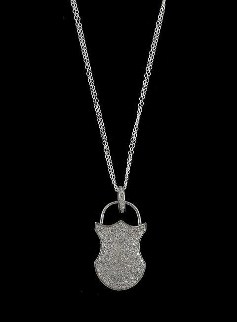 14 Kt. Gold, Silver and Diamond Lock Pendant