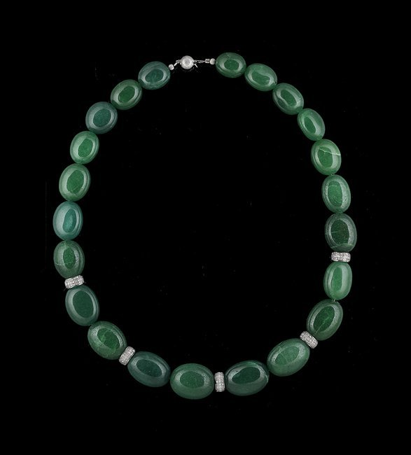 14 Kt. Gold, Silver, Emerald and Diamond Necklace