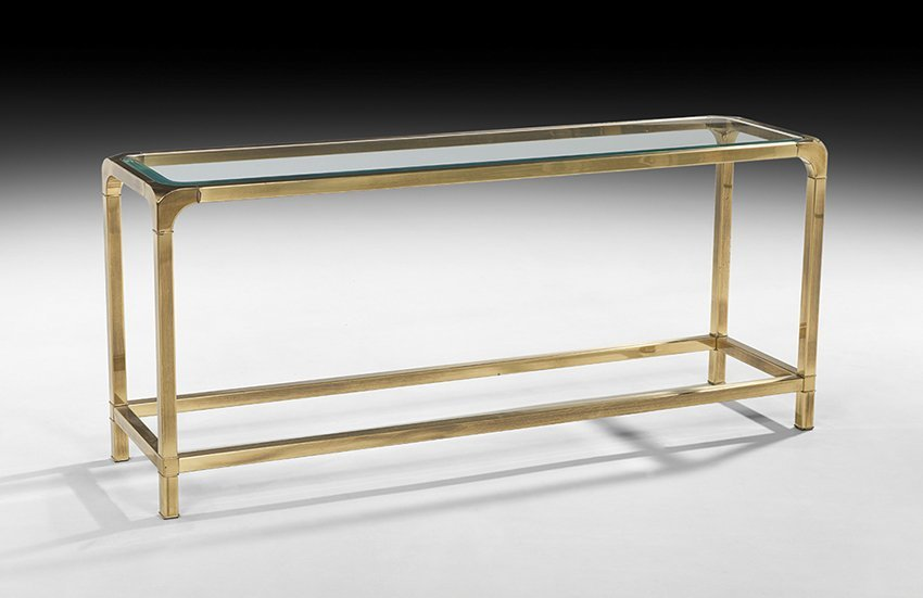 Mid-Century Modern Glass and Brass Console Table