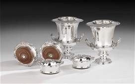 Pair of Silverplate Wine Coolers & Four Coasters