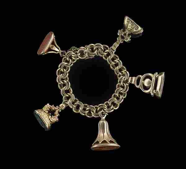 14 Kt. Gold Bracelet with 10 Kt. Gold Watch Fobs