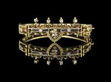 VictorianStyle 14 Kt Gold and Diamond Bracelet