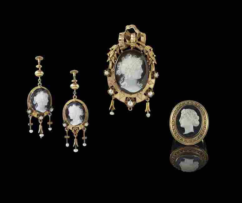 Three-Piece 16/14 Kt. Yellow Gold Cameo Group