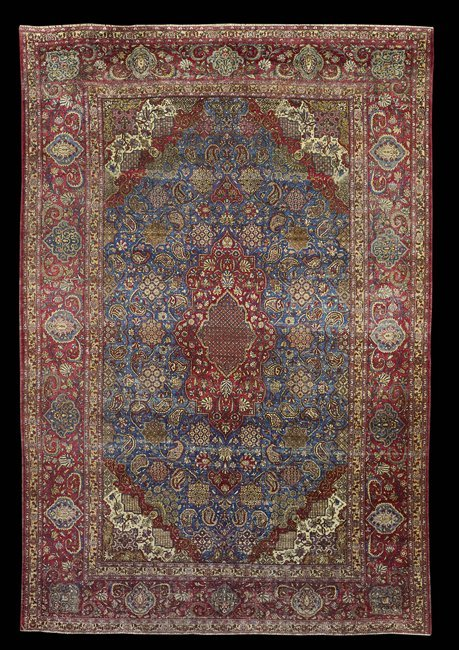Antique Persian Kashan Silk Carpet