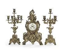 Louis XVStyle Bronze ThreePiece Clock Set