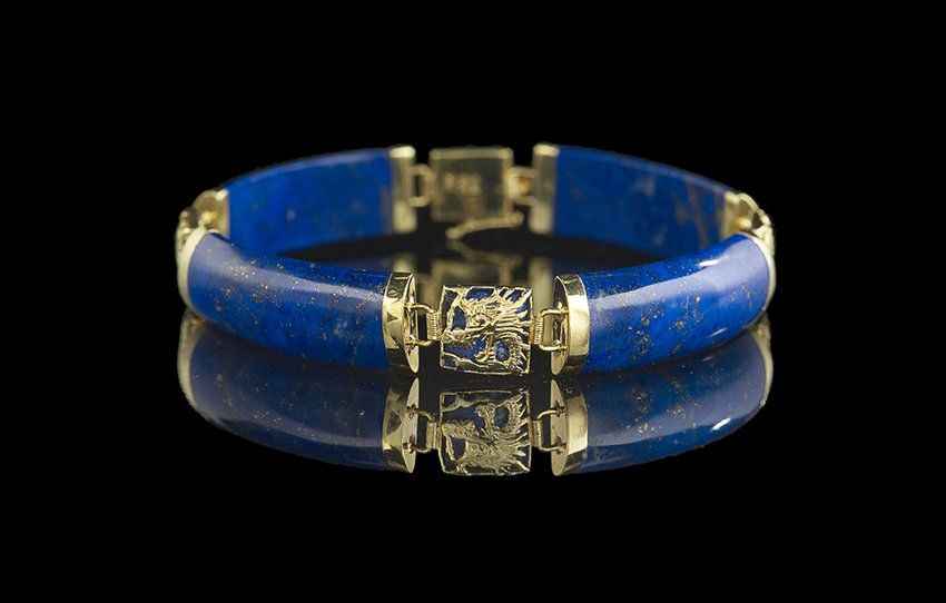14 Kt. Yellow Gold and Lapis Lazuli Bracelet