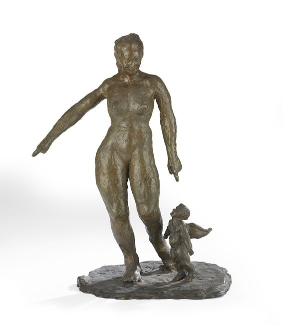 American Patinated Bronze Figural Group
