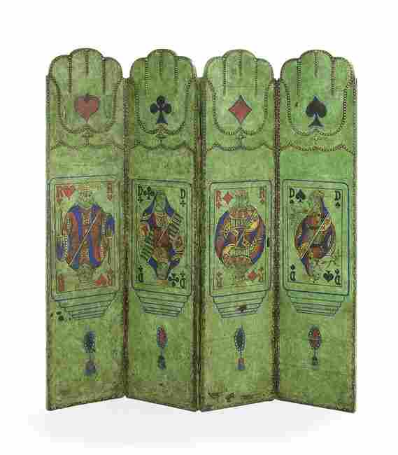 Whimsical Painted Leather Four-Panel Screen