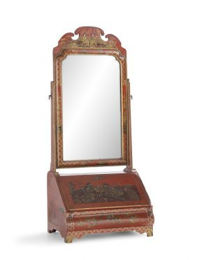 English Queen Anne-style Japanned Dressing Mirror
