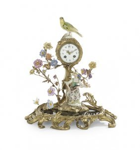 Meissen-style Porcelain And Bronze Clock
