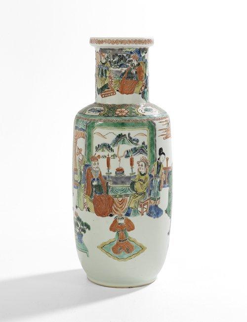 Chinese Famille Verte Porcelain Rouleau Vase