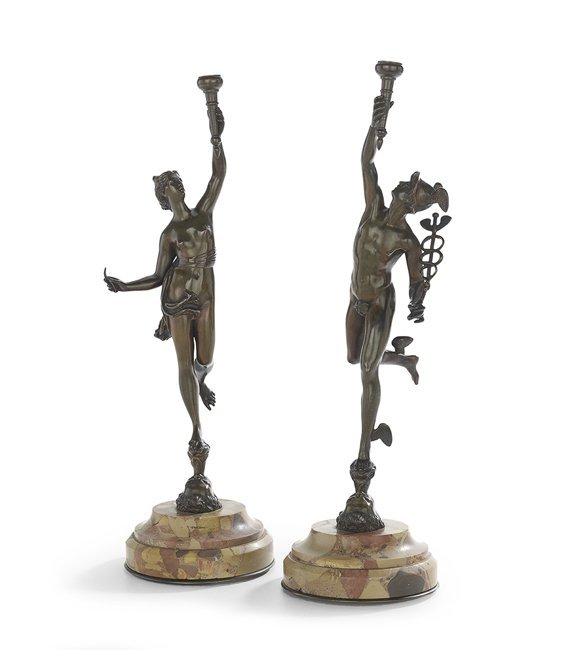 Pair of French Bronze Figures of Mercury & Venus