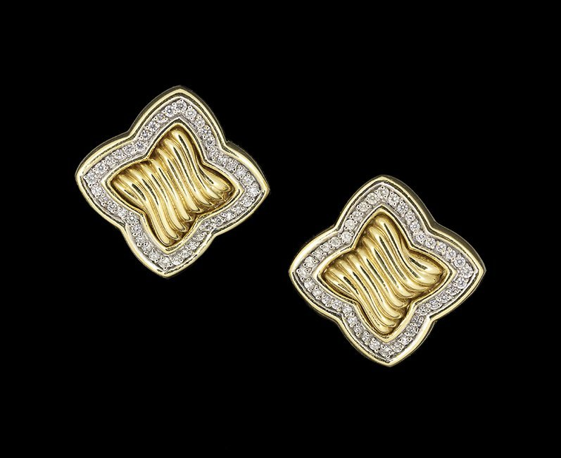 18 Kt. Yellow Gold and Diamond Earrings