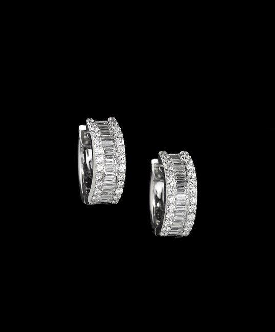 18 Kt. White Gold and Diamond Hoop Earrings