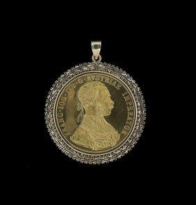 Austrian Four Ducat Gold Coin Pendant