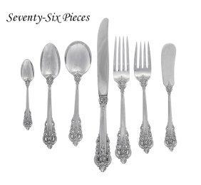 "76 Pcs. Wallace ""grand Baroque"" Silver Flatware"