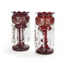 Pair Of Bohemian Ruby Glass Mantel Lustres