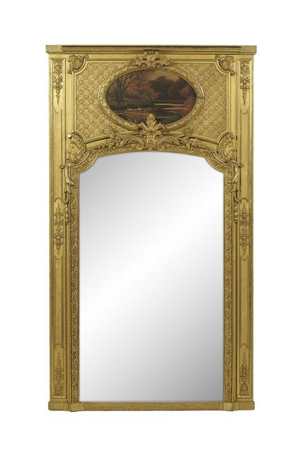 French Belle Epoque Giltwood Trumeau Mirror