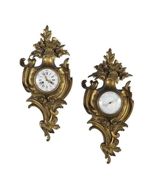 French Gilt-Bronze Cartel Clock and Barometer