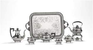 English Silver Tea Set with Silverplate Tray