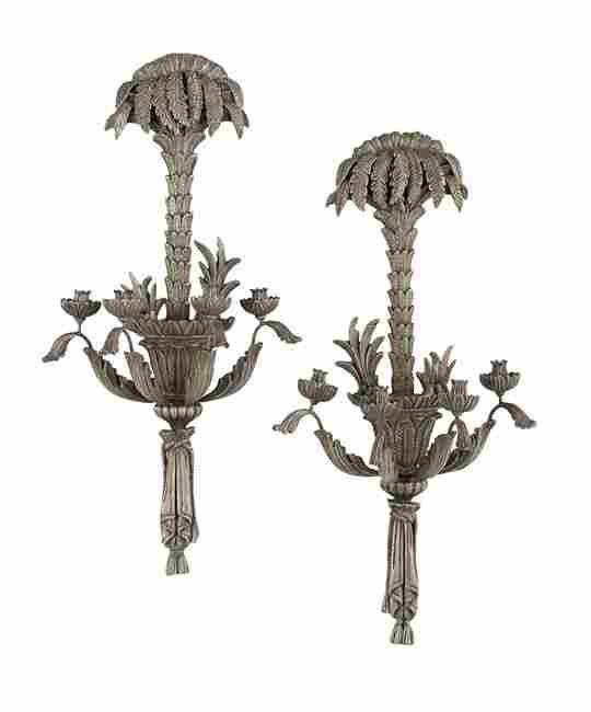 Pair of Italian Silvered Wood Sconces