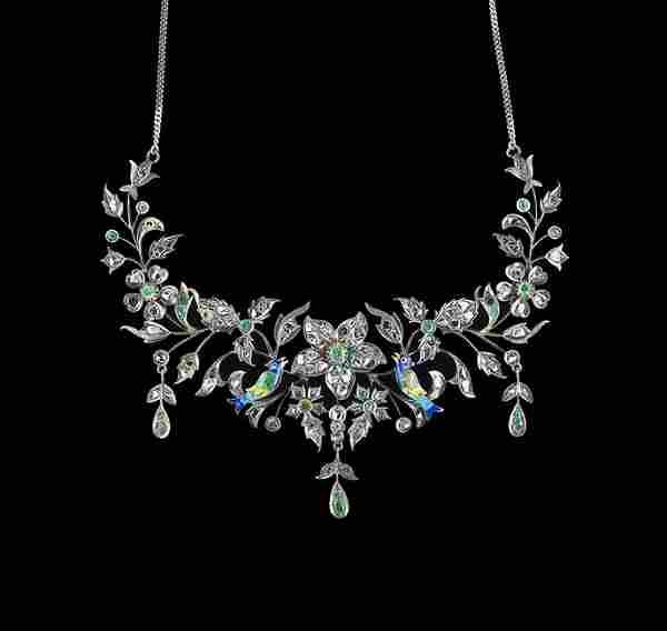 Platinum, 12 Kt. Gold, Diamond & Emerald Necklace