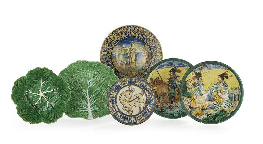 Six Continental Glazed Faience Dishes