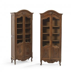 Near-Pair of Provincial Louis XV-Style Vitrines