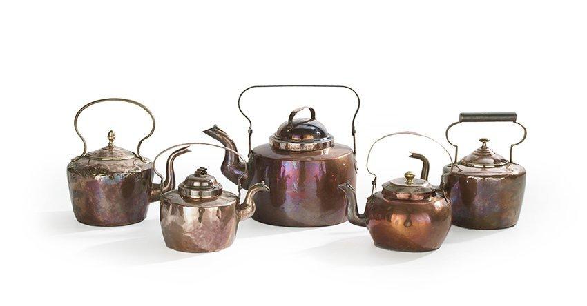 Five Nineteenth-Century Copper Tea Kettles