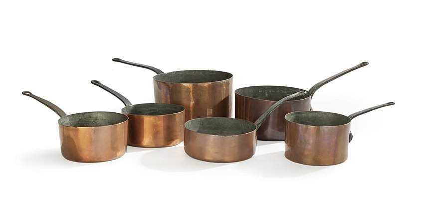Six-Piece Collection of Copper Cookware