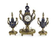 French GiltBronze and Cobalt Porcelain Clock Set