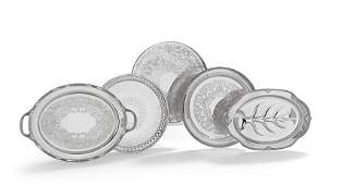 Five Silverplate Trays, Waiters and Platters