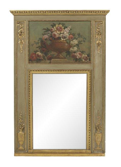 French Parcel-Gilt Trumeau Mirror