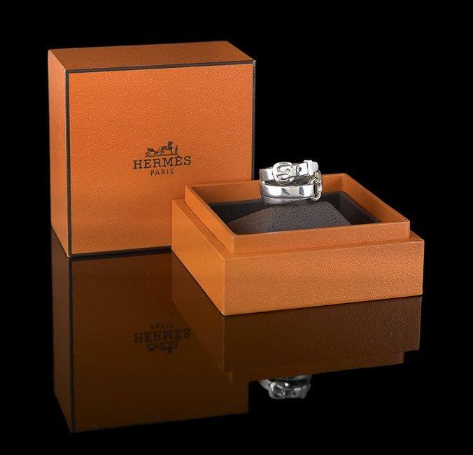Hermes Sterling Silver Buckle Ring