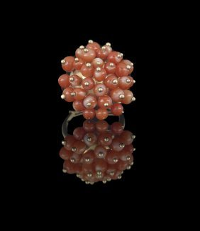 14 Kt. Yellow Gold and Red Coral Ring