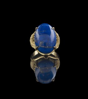 18 Kt. Yellow Gold and Lapis Lazuli Ring