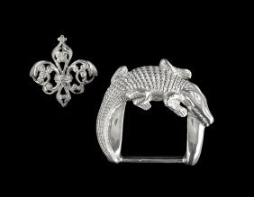 Sterling Alligator Buckle and Fleur-de-Lis Brooch