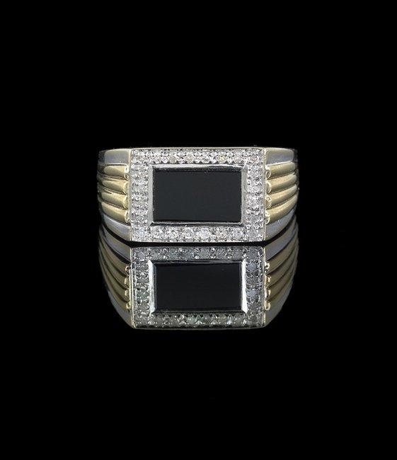 Gentleman's 10 Kt. Gold, Onyx & Diamond Ring