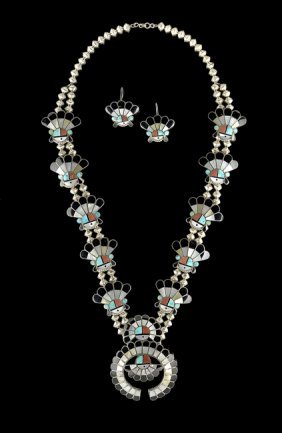 Zuni Silver Inlaid Necklace and Earrings